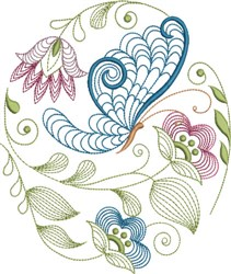 Large Hoop Jacobean Floral embroidery design