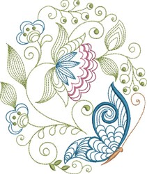 Large Hoop Jacobean Flower & Butterfly embroidery design