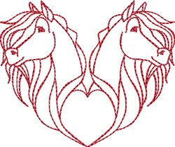 Valentines Day Horses embroidery design