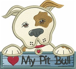 Love My Pit Bull embroidery design