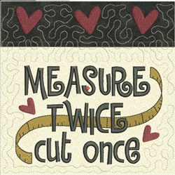 Measure Twice Quilt Block embroidery design