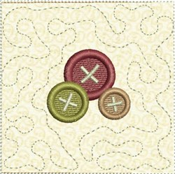 Buttons Corner Quilt Block embroidery design