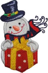 Applique Gift Snowman embroidery design