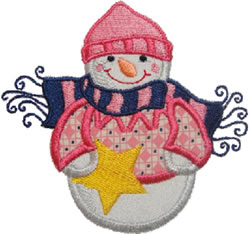 Applique Star Snowman embroidery design