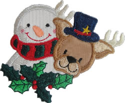 Applique Snowman & Reindeer embroidery design