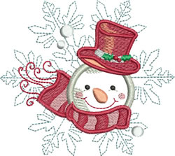 Applique Snowflake Snowman embroidery design