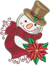 Applique Little Snowman with Pointsettia embroidery design