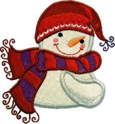 Applique Little Snowman embroidery design