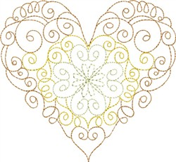 Multi-Color Whirl Heart embroidery design