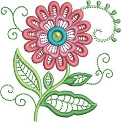 Jacobean Style Daisy embroidery design