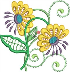 Jacobean Floral Motif embroidery design