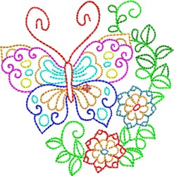 Multi Color Butterfly embroidery design