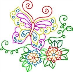 Backstitch Butterfly embroidery design