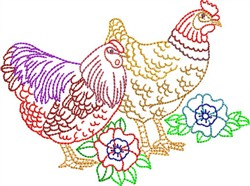 Multi-Color Fowl embroidery design