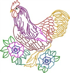 Multi-Color Rooster embroidery design