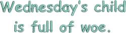 Wednesdays Child embroidery design