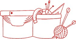 Redwork Sewing Box embroidery design