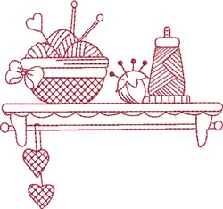 Redwork Sewing Shelf embroidery design