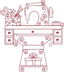 Redwork Sewing Machine embroidery design