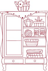 Redwork Sewing Armoire embroidery design