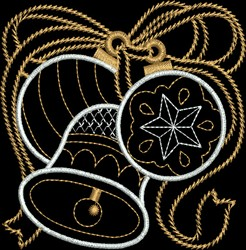 Metallic Bell & Ornament embroidery design