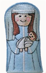 ITH Mary & Jesus Finger Puppet embroidery design