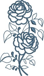 Blue Rose Outline embroidery design