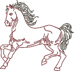 Prancing Outline Horse embroidery design