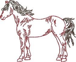 Standing Outline Horse embroidery design