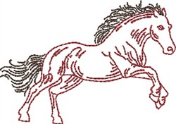 Running Outline Horse embroidery design
