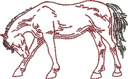 Bowing Outline Horse embroidery design