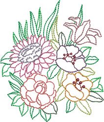 Backstitch Bouquet embroidery design