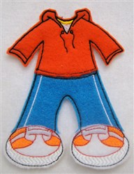 Felt Paperdoll Boys Running Suit embroidery design