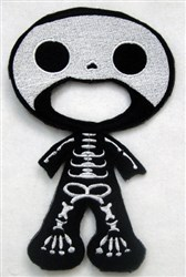 Felt Boy Paperdoll Skeleton Costume embroidery design