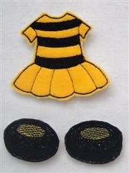 Felt Paperdoll BumbleBee Costume embroidery design