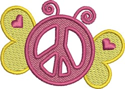 Butterfly Peace Sign embroidery design