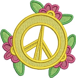 Flowered Peace Symbol embroidery design
