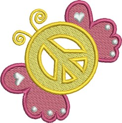 Butterfly Peace Symbol embroidery design