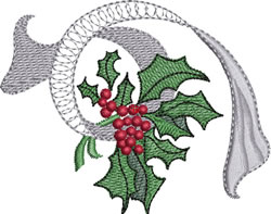 Patterned Ribbon Holly embroidery design