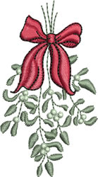 Mistletoe and Bow embroidery design