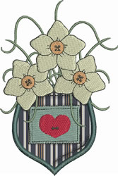 Flowers Pocket Applique embroidery design