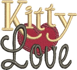 Kitty Love embroidery design