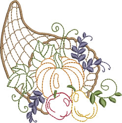 Thanksgiving Cornucopia embroidery design