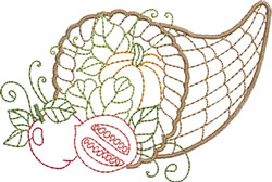 Cornucopia With  Fruit & Vegtables embroidery design