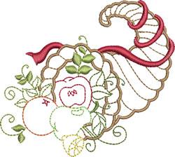 Ribbon Wrapped Cornucopia embroidery design