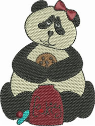 Panda with Cookie embroidery design