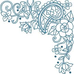 Bluework Paisley Corner embroidery design
