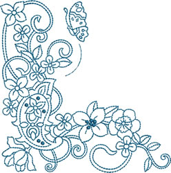 Paisley Butterfly Bluework embroidery design