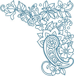 Paisley Bluework Corner embroidery design