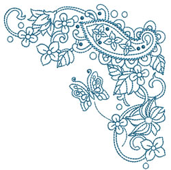 Paisley Butterfly Corner embroidery design
